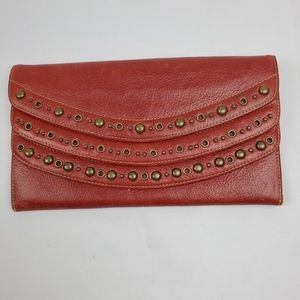 Red Nordstrom genuine leather 3 pouch wallet
